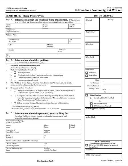 Form I 129 Instructions
